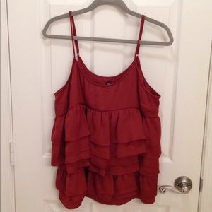 Who What Wear chestnut ruffled tank top,  size L